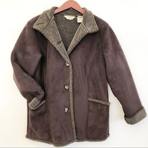 L.L. BEAN Faux Suede Shearling Lined Jacket